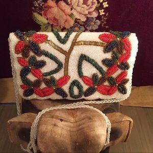 Handbags - Vintage White Beaded Handbag with Floral Pattern